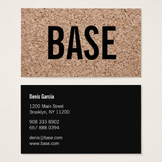 Modern plain black cool cork texture art minimal business card