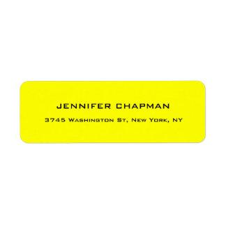 Modern Plain Elegant Professional Lemon Yellow Return Address Label