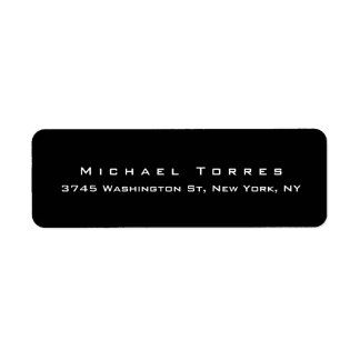 Modern Plain Elegant Trendy Black Minimalist Return Address Label
