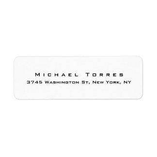 Modern Plain Elegant Trendy Black & White Return Address Label