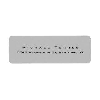 Modern Plain Elegant Trendy Silver Grey Minimalist Return Address Label