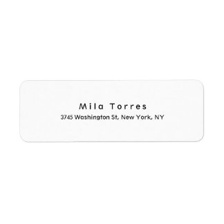 Modern Plain Elegant Unique Black & White Return Address Label