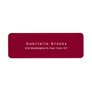 Modern Plain Elegant Unique Dark Red Color Return Address Label