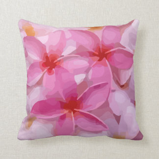 Modern Plumeria - Abstract Pink Flowers Cushion