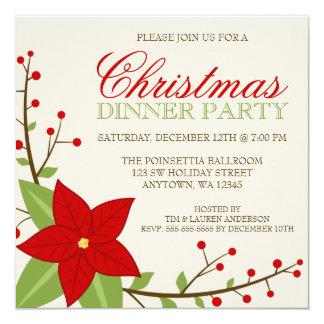 Modern Poinsettia Christmas Holiday Dinner Party Card