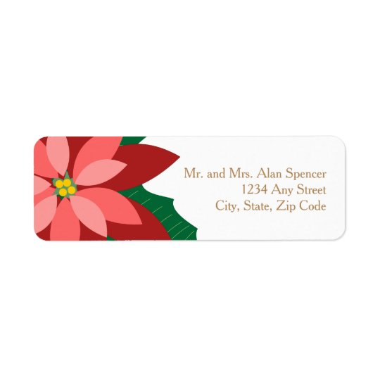 Modern Poinsettia Floral Labels