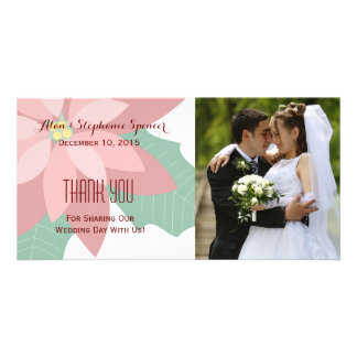 Modern Poinsettia Floral Thank You Photo Cards