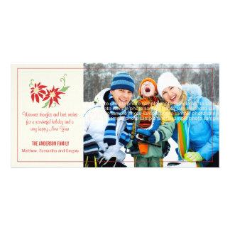 Modern Poinsettia Holiday Photocard Card