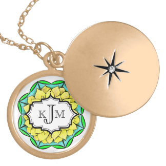 MODERN POINSETTIA in YELLOW Round Locket Necklace