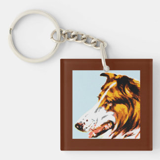 Modern pointillism: soft focus rough collie Single-Sided square acrylic key ring