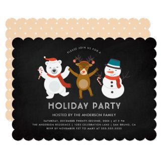 Modern Polar Bear Reindeer & Snowman Holiday Party Card