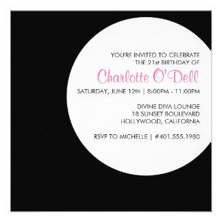 modern | polka dot; birthday party custom announcement