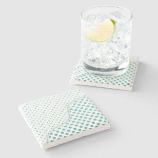 Modern Polka Dot Design Turquoise White Stone Coaster