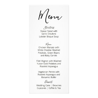 Modern Polka Dot Wedding Menu | Black
