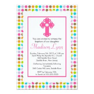 Modern Polka Dots Baby Girl Baptism Christening 5x7 Paper Invitation Card