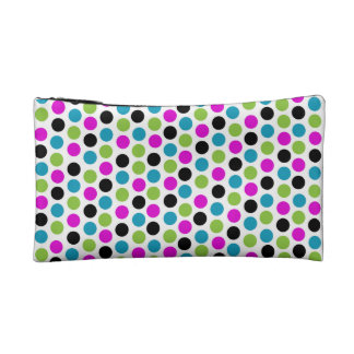 Modern Polka Dots Cosmetic Case - Lime Turquoise Makeup Bags