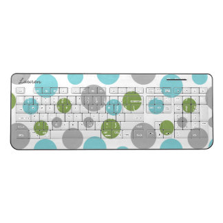 Modern polka dots, trendy office decor, name wireless keyboard