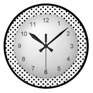 Modern Polkadot Black and White Large Clock