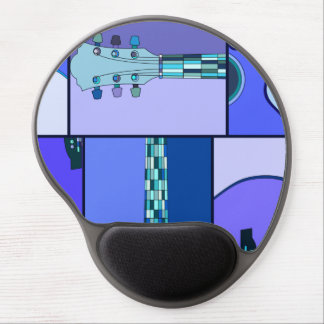 Modern Pop Art Acoustic Guitar in Shades of Blue Gel Mouse Pad