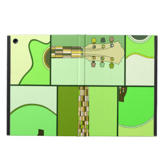 Modern Pop Art Guitar in Shades of Green iPad Air Cases
