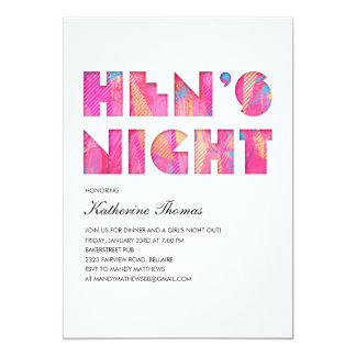 Modern Pop Hen's Night Invitations