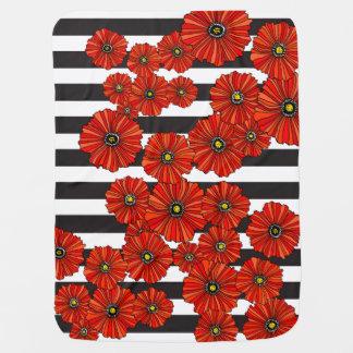 Modern poppy black and white stripe baby blanket