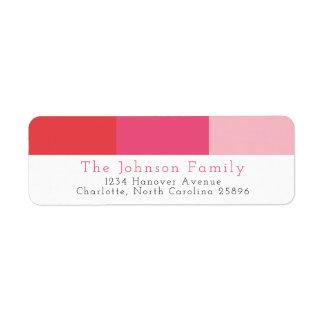 Modern Preppy Red Pink Stripe Return Address Return Address Label