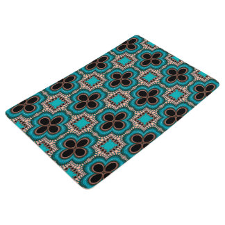 Modern Prertty Abstract Blue And Black Seamless Floor Mat