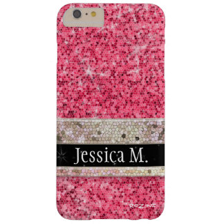 Modern Princess Hot Pink Glitter Diamond Monogram Barely There iPhone 6 Plus Case
