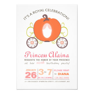 Modern Princess Pumpkin Carriage Invitation