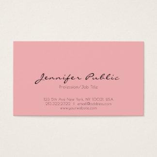 Modern Professional Elegant Pink White Clean Plain Business Card