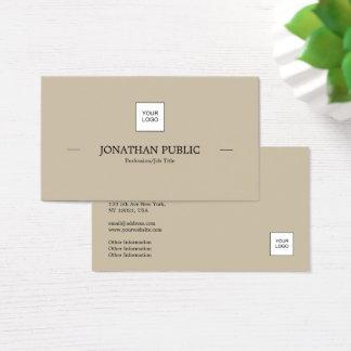 Modern Professional Elegant Simple Plain With Logo Business Card