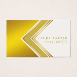 Modern Professional Geometrical Gold Finance Business Card