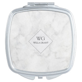 Modern Professional Monogrammed White Marble Mirror For Makeup