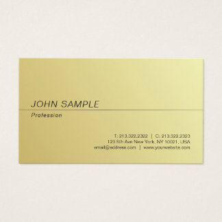 Modern Professional Simple Chic Gold Look Plain Business Card