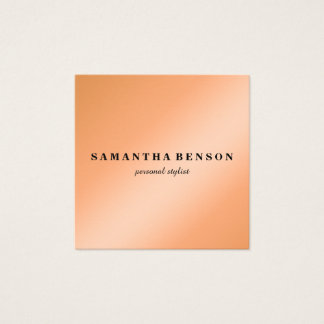 Modern Professional Stylist Chic Copper Rose Gold Square Business Card