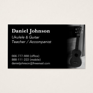 Modern, Professional, Ukulele and guitar teacher Business Card