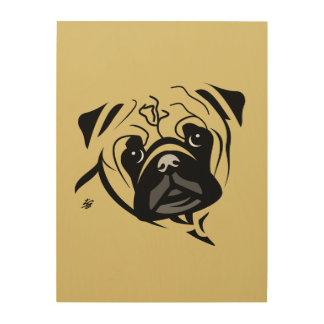 Modern Pug Art Wood Canvas
