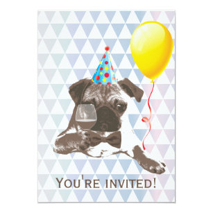 Pug Birthday Invitations Zazzle Au