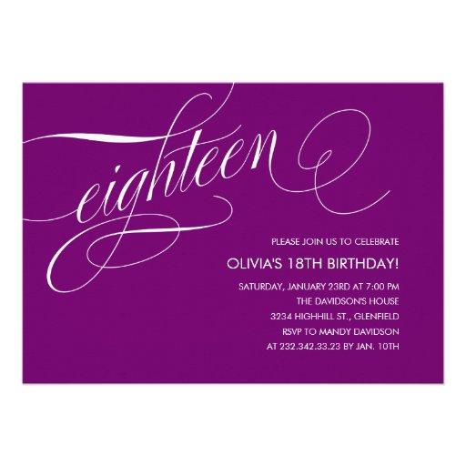 Modern Purple 18th Birthday Invitations