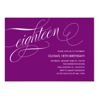 Modern Purple 18th Birthday Invitations