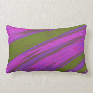Modern Purple and Green Colour Swish abstract Lumbar Cushion