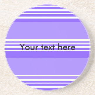 Modern purple and white stripes drink coaster