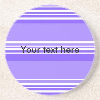 Modern purple and white stripes drink coaster