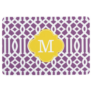 Modern Purple and Yellow Trellis Custom Monogram Floor Mat