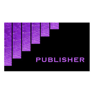 Modern purple, black vertical stripes publisher Double-Sided standard business cards (Pack of 100)