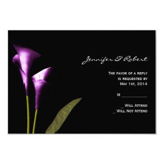 "Modern Purple Calla Lily  Response Card 3.5"" X 5"" Invitation Card"