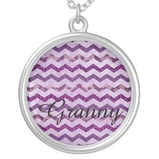 Modern Purple Chevron Pattern Granny Necklace