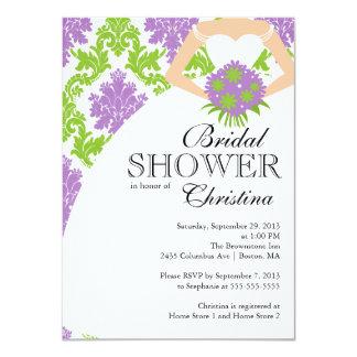 Modern Purple Damask Beautiful Bride Bridal Shower Announcement