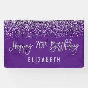 Modern Purple Faux Silver Glitter 70th Birthday Banner